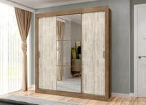 Roupeiro smart c/espelho cent e pes 3p ipe/vanilla maxel -