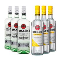 Rum Bacardi Carta Blanca/Limon 980ml - Kit 3 Unidades Cada -