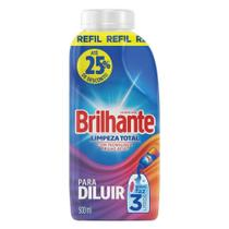 Sabão Líquido Brilhante para Diluir Limpeza Total Refil 500ml Embalagem com 12 Unidades -