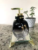 Saboneteira preto balão 300ml - com espelho quadrado - Cheirinho de amor