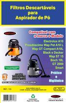Saco Aspirador Eletrolux A10 -Prosdócimo Wap Pet A10 L -Wap GT Compact A10 L -Black e Decker -Wap ST 15-Boch 10 L -GT 2000 -Smart KIT c/3 - Oriplast