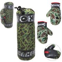 Saco boxe grande + par de luva  pancada boxing camuflado -