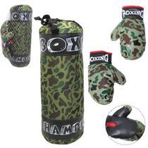 Saco boxe infantil grande + par de luva  pancada boxing camuflado -