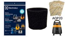 Saco descartável + filtro permanente espuma aspirador de pó electrolux aqp10 e aqp20 (aqua power) -