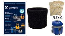 Saco descartável + filtro permanente espuma aspirador de pó electrolux flex c azul -