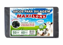 Saco para silo preto 51x110 cm reforçado 200 micras + 50 abraçadeiras de nylon - MAXILONA