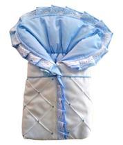 Saco Porta Bebê Azul Bebe e Branco Bordado 100% Algodão Saco bebe Dormir Azul Bebê - Variedades enxovais