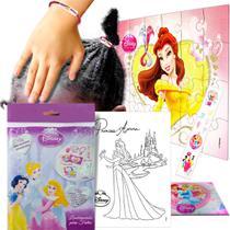 Sacolinha Surpresa  Bela c/ Elástico de Cabelo Princesas Disney + 4 Itens - Cim