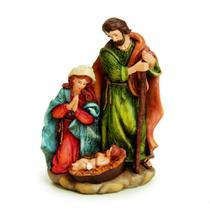 Sagrada Família De Resina Color 19 X 13 Cm Decoração Natal - Cromus