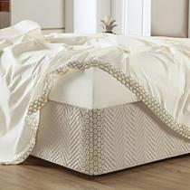 Saia Box Atena Microfibra em matelassê costurado - Queen - Bege - Lilly Home Enxovais