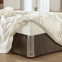 Saia Box Atena Microfibra matelassê costurado - Queen - Marrom - Lilly Home Enxovais