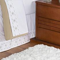 Saia Box Damasco Cama Queen Tecido Percal 100% Algodão - Branco/Bege - Aquarela Enxovais -