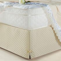 Saia Box Olimpo Microfibra em matelassê costurado - Queen - Bege - Lilly Home Enxovais