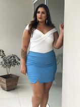 Saia com Shorts em bengaline Milanjus azul claro tam 50/52 plus size -