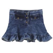 Saia Infantil Look Jeans Moletom Jeans -