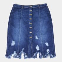 Saia Jeans Cambos Midi Plus Size Com Recortes E Barra Desfiada -