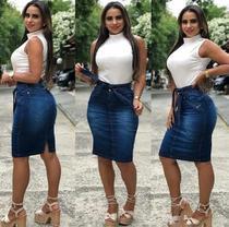 Saia jeans com cinto em laço - Tam.46 - Shayne