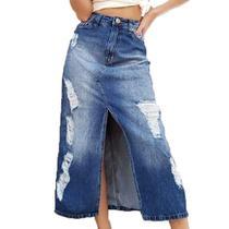 Saia Jeans Destroyed Longa Lady Rock -