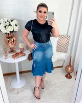 Saia Jeans Evangelica Midi Destroyed Peplum Moda Feminina - Rebeca Modas
