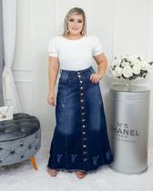 Saia Jeans Longa Plus Size Destroyed Moda Evangélica Gospel - Rebeca Modas