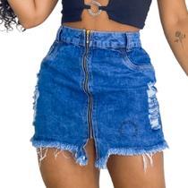 Saia Jeans Luxo Feminina Cintura Alta Destroyed Com Ziper Fecho Feixo - Fort Moda