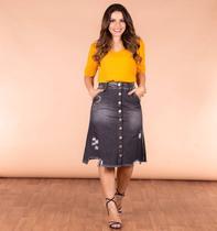 Saia Jeans Midi Evangelica Botões Bordado Destroyed Joyaly - Rebeca Modas