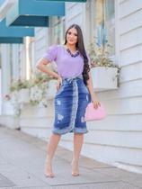 Saia Jeans Midi Evangelica Destroyed Azul Duo Joyaly Fashion -