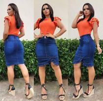 Saia jeans moda evangélica com laço - Tam.46 - Jolly Modas E Perfumaria