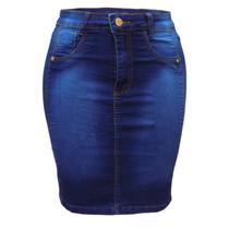 Saia Jeans Plus Size Azul ref 095 - Koinonia