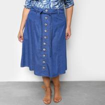 Saia Jeans Plus Size Cambos Midi Botões -