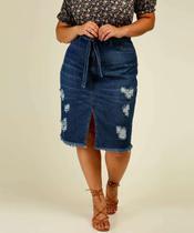 Saia Jeans Plus Size Feminina Midi Fenda - CAMBOS PREMIUM