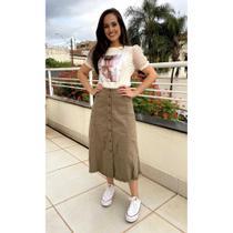 Saia Midi Jeans Colors Casual - Moda Evangélica Modesta e Executiva - Dea Dress
