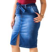 Saia Midi Jeans Feminina Fenda Frontal Cinto Anticorpus - Anticorpus Jeanswear