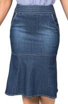 Saia Midi Jeans Flare com Fechamento de Zíper Traseiro Dyork Jeans -