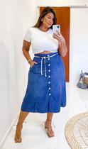 Saia Midi Jeans Plus Size Izzat Cinto de Corda - Push Plus Size