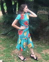 Saia Midi Peplum Crepe Estampa Floral Moda Roupas Evangélicas - Rebeca Modas