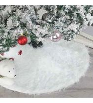 Saia P/ Arvore De Natal Pelúcia Pelo Alto 7cm Branco 90cm - S Decor