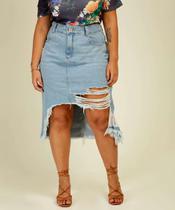 Saia Plus Size Feminina Midi Jeans Destroyed Biotipo -