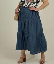 Saia Plus Size Jeans Longa Feminina Botões Babado - CAMBOS PREMIUM