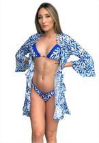 Saída de Banho Garota de Luxo Beachwear com Babadinho florzinha azul -