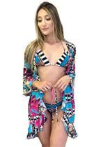 Saída de Banho   Garota de Luxo Beachwear Curta Babadinho Estampa Copacabana 2019 -