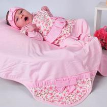Saída de maternidade Bebê Menina Floral Rosa P - Sônia enxovais