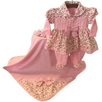 Saída de Maternidade Encanto Floral Rosa 4 Peças - Tieloy