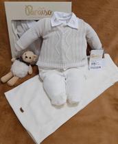 Saída De Maternidade Luxo Paraiso Bebê Menino Plush C/ Tricô Ref. 10208 - Paraíso