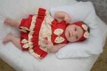 Saída de Maternidade Melissa Vermelha c/ Palha 3 Peças - Imperial baby