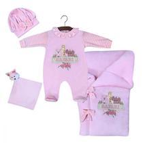 Saída de Maternidade Menina Baby Safari Rosa com Porta Bebê - Tieloy