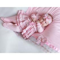 Saída de Maternidade Menina Charlotte Rosa - Tieloy