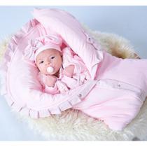 Saída de Maternidade Menina Giulia Rosa com Porta Bebê - Tieloy