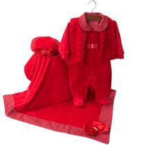 Saída de Maternidade Menina Giulia Vermelha com Manta - Tieloy