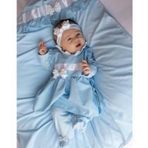 Saída de Maternidade Menina Luxo Alicia Poá Azul - Tieloy